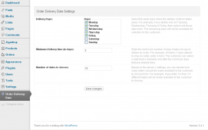 Order Delivery Date - Settings Page