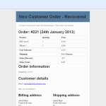 Email notification - Order Recovered
