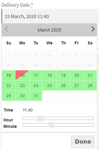 Time Range - Checkout Page