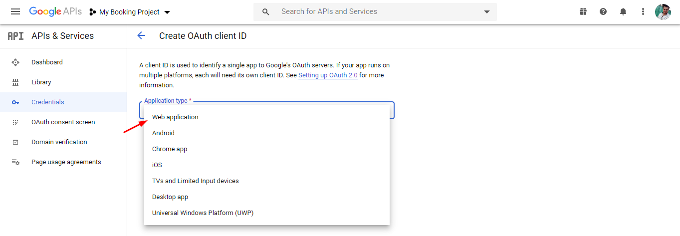 Application name - google calendar sync via oauth