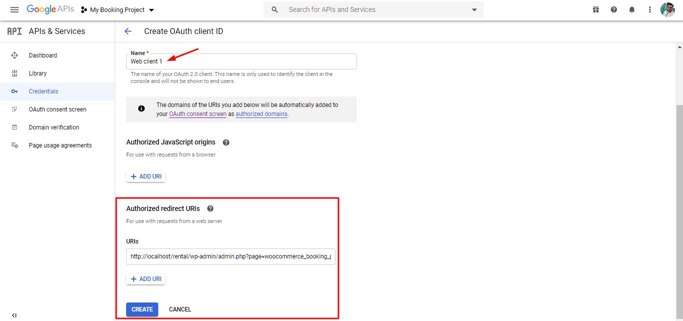 Authorized redirect URIs - Google calendar sync via oauth