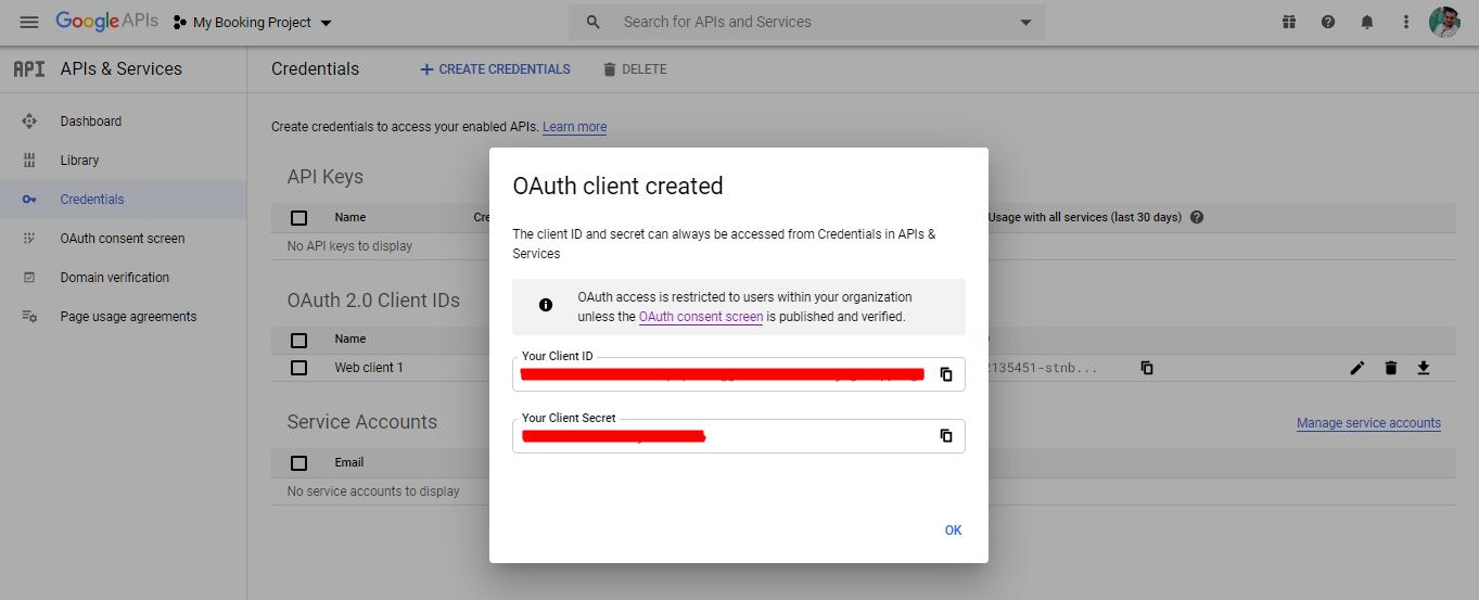 Client ID and Client Secret - google calendar sync via oauth