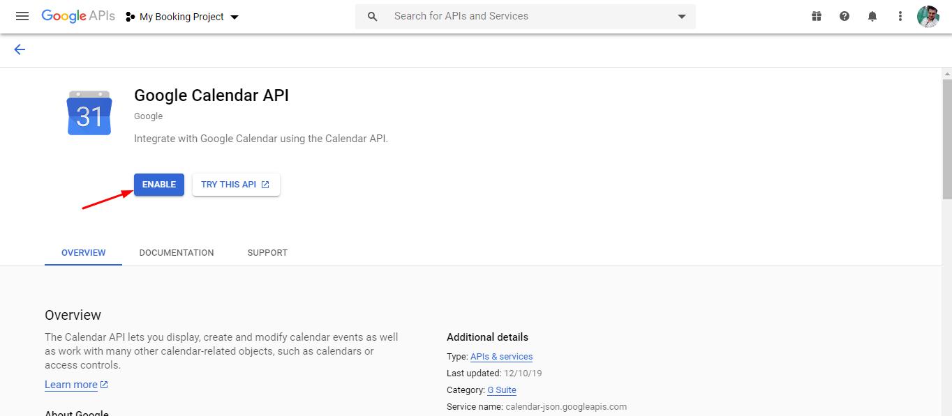 enable google calendar api - google calendar sync via oauth
