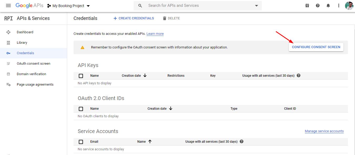 configuring consent screen - google calendar sync via oauth