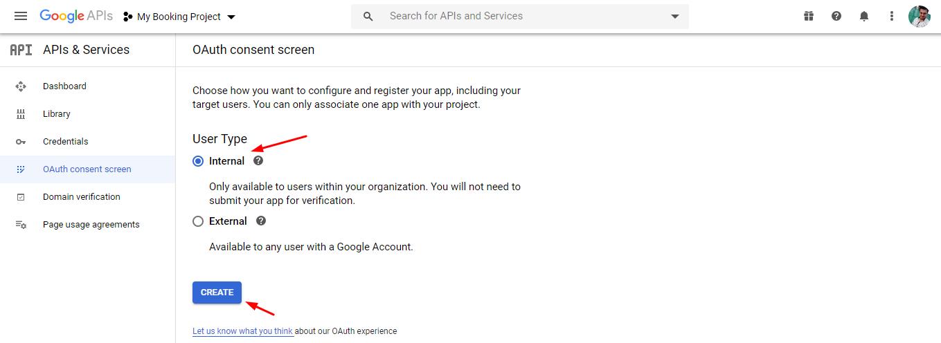 select user type - google calendar sync via oauth