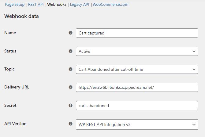 Webhook details
