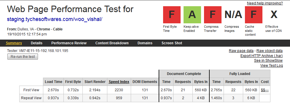 Speed up WordPress sites - Before DB Optimization