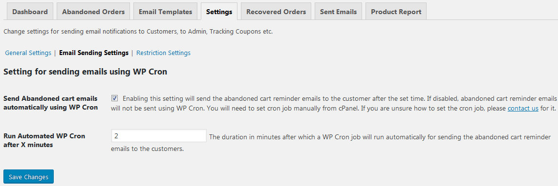 Email sending settings - What are the Email Sending and Restriction settings of Abandoned Cart Pro for WooCommerce plugin?