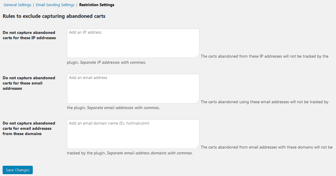 Restriction settings - What are the Email Sending and Restriction settings of Abandoned Cart Pro for WooCommerce plugin?