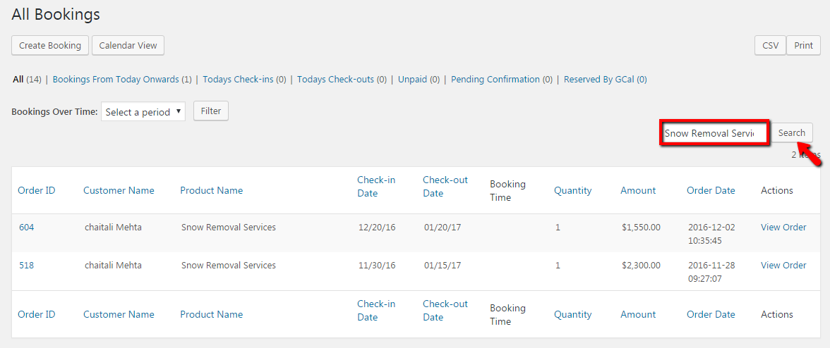 view all your booked services- Search bookings by Product Name