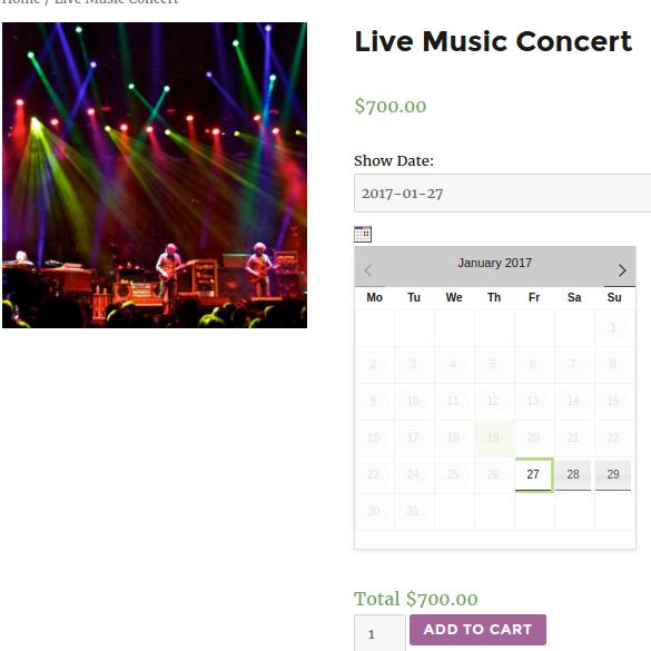 Frontend of Live Music Concert after Enabling Inline calendar