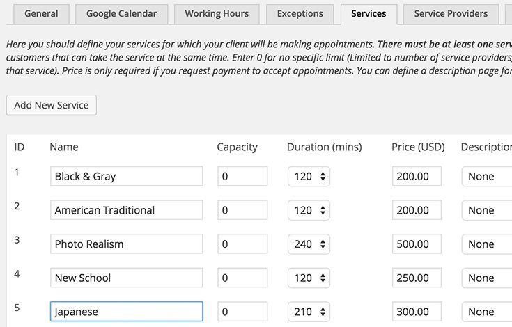 Services View in Appointments+ Plugin