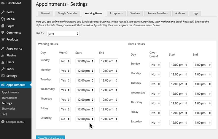 Work Hours Setup in Appointments+ Plugin