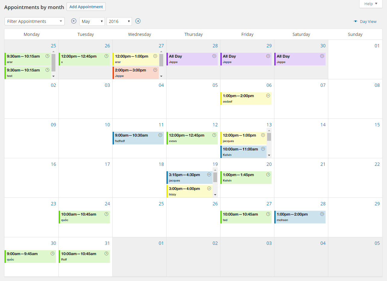 Appointments Calendar by Month