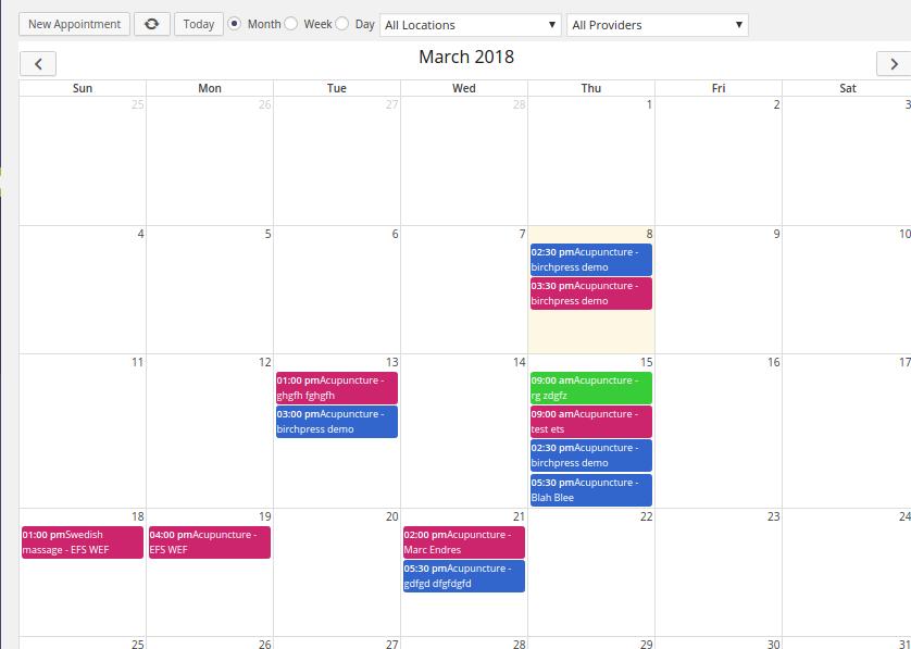 Booking Calendar in Admin