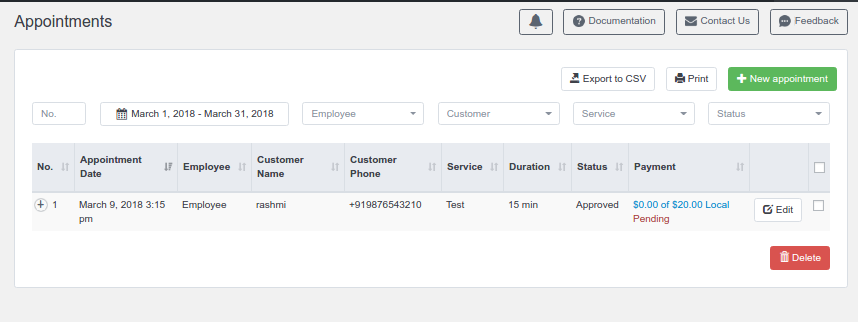 View Appointments in Bookly Admin