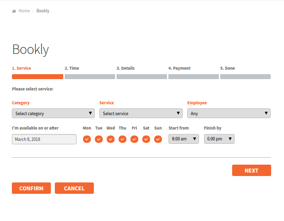 Frontend Booking page in Bookly plugin