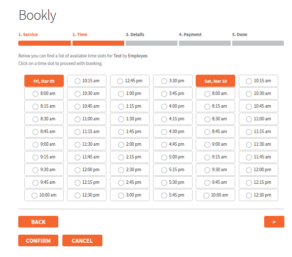 Choosing a Bookly Time slot